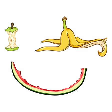 Vector Set of Cartoon Food Garbage. Apple Core, Banana Peel and Watermelon Peel. Fruit Leftover. 矢量图像