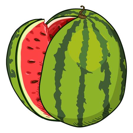 Vector Cartoon Watermelon with Red Pulp Ilustração