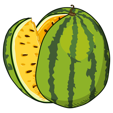 Vector Cartoon Watermelon with Yellow Pulp