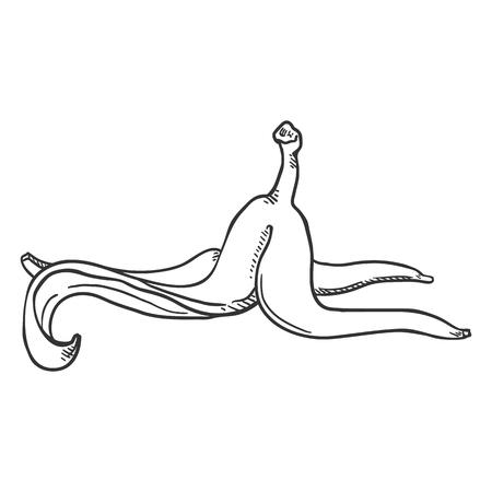 Vector Sketch Banana Peel Ilustracja