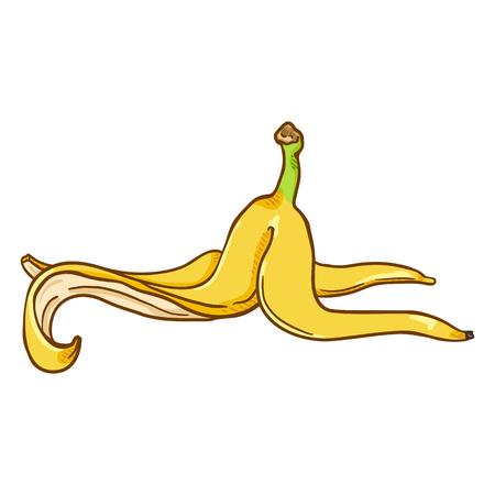Pelure de banane jaune de dessin animé de vecteur