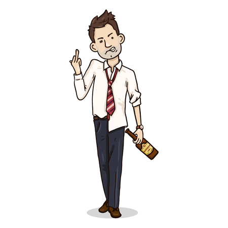 Vector Cartoon Character - Drunk Aggressive Office Employee Foto de archivo - 124851389