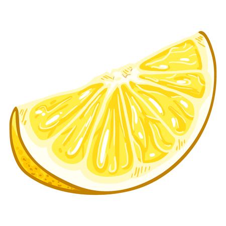 Vector Cartoon Yellow Lemon Slice Illustration