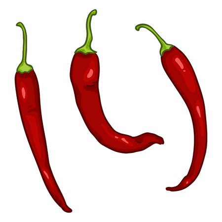 Vector Set of Cartoon Red Chilli Peppers