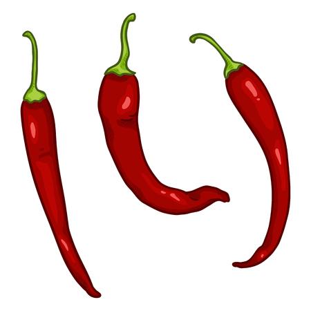Wektor zestaw kreskówka czerwona papryka chili