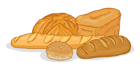 Vector Cartoon Illustration - Pile of Bread Items on White Background