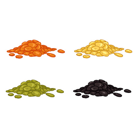 Vector Set of Cartoon Color Pile of Lentils