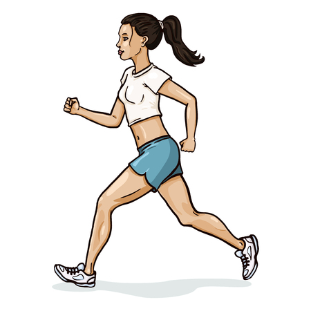 Vector Single Cartoon Female Character. Jogging Young Woman. Illustration