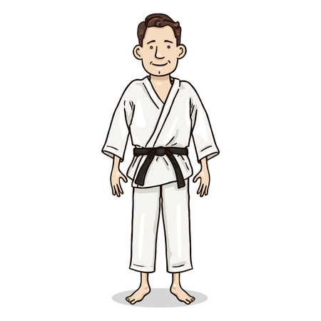 Vector Cartoon Color Character - Young Man in White Karate Kimono