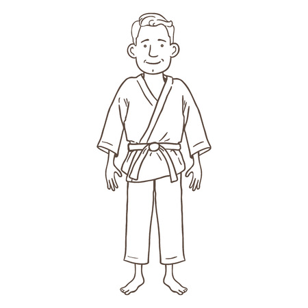 Vector Cartoon Outline Character - Young Man in Karate Kimono  イラスト・ベクター素材