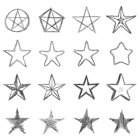 Vector Set of Dirty Sketch Stars. Abstract Doodle Illustrations 일러스트