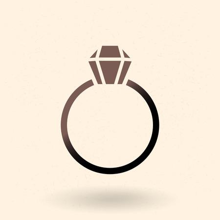 Vector Black Silhouette Icon - Wedding Ring with Diamond Illustration