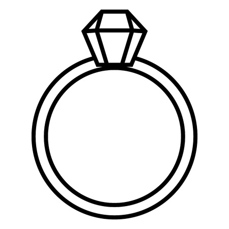 Vector Outline Icon - Wedding Ring with Diamond