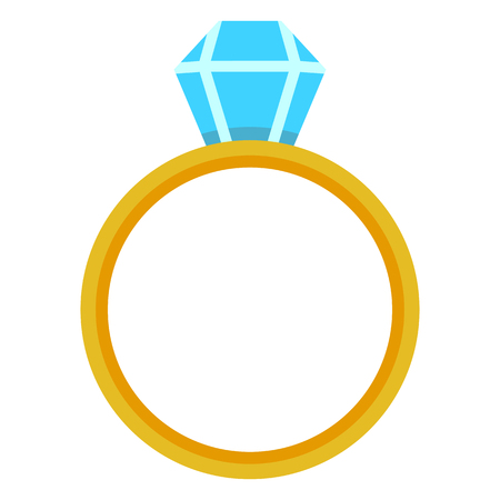 VectorColor Flat Icon - Wedding Golden Ring with Diamond