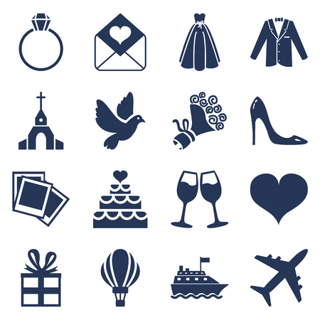 Vector Set of Silhouette Wedding Icons