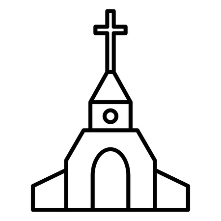 Vector Black Outline Catholic Church Icon