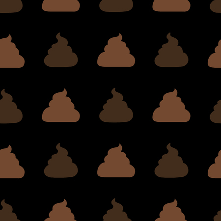 Vector Seamless Pattern of Flat Shit Icons on Black Background