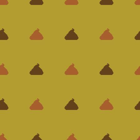 Vector Seamless Pattern of Pixel Shit on Brown Background Ilustração