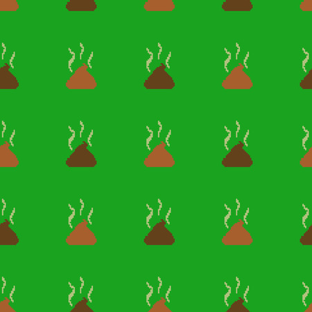 Vector Seamless Pattern of Pixel Shit on Green Background