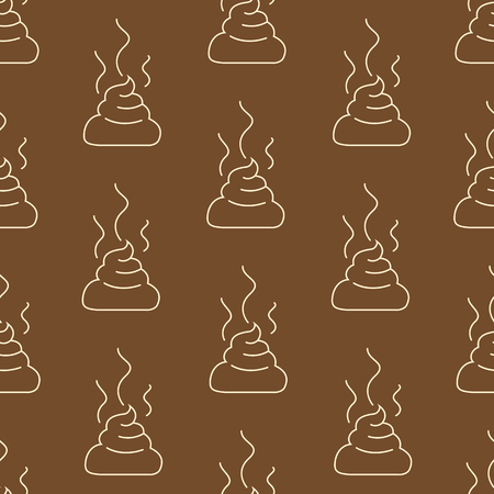 Vector Seamless Pattern of Outline Shit on Brown Backround