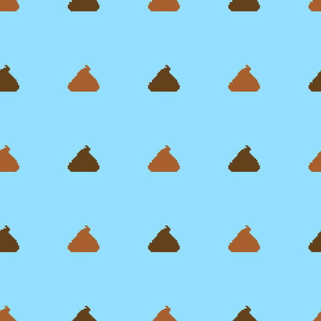 Vector Seamless Pattern of Pixel Shit on Blue Background