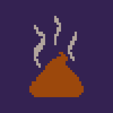 Vector Old School Pixel Style Illustration - Brown Piece of Shit on Blue Background