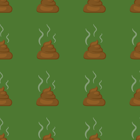 Vector Seamless Pattern of Flat Shit Icons on Green Background