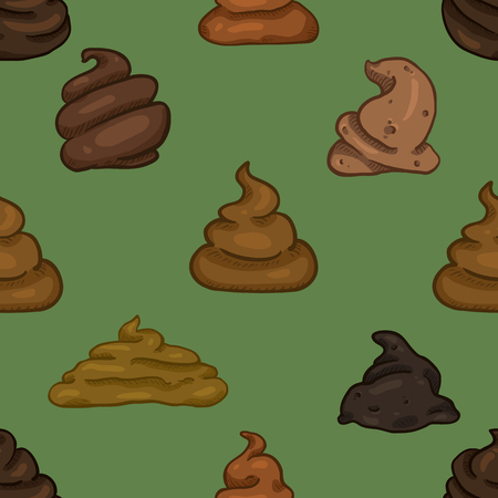 Vector Seamless Pattern of Cartoon Shit on Green Background