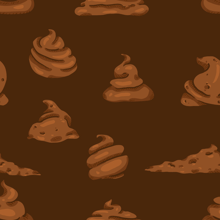 Vector Seamless Pattern of Cartoon Shit on Brown Background