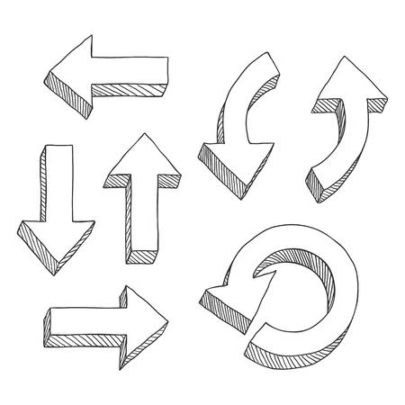 Vector Set of Sketch Hand Drawn Doodle Arrows Illustration