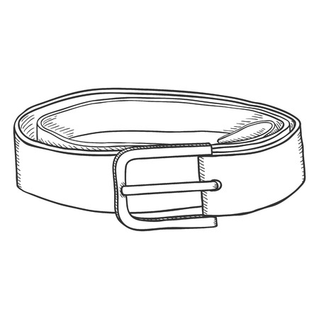 Vector Sketch Classic Leather Belt with Metal Buckle Illustration