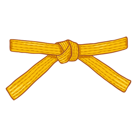 Vector Cartoon Yellow Karate Belt Illustration
