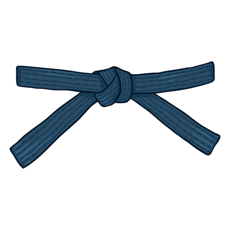 Vector Cartoon Blue Karate Belt