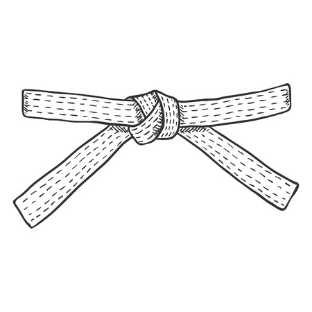 Vector Sketch Karate Belt on White Background