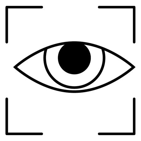 Vector Black Outline Icon - Retina Scaner Illustration