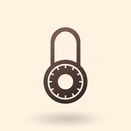 Vector Black Silhouette Icon - Round Combination Padlock