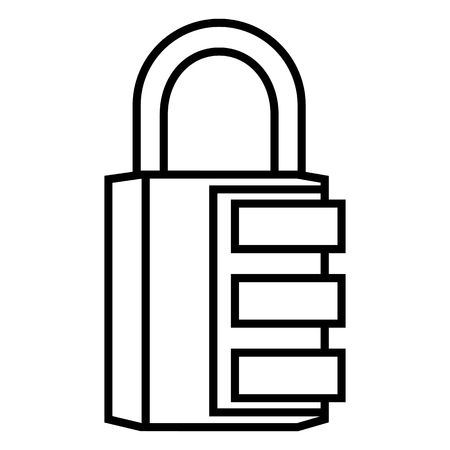 Vector Black Outline Icon - Combination Padlock