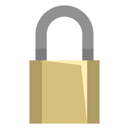 Vector Flat Icon - Brass Metal Padlock 일러스트