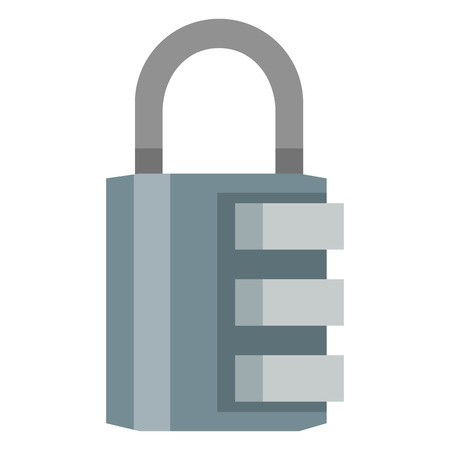 Vector Flat Color Icon - Blue Combination Padlock