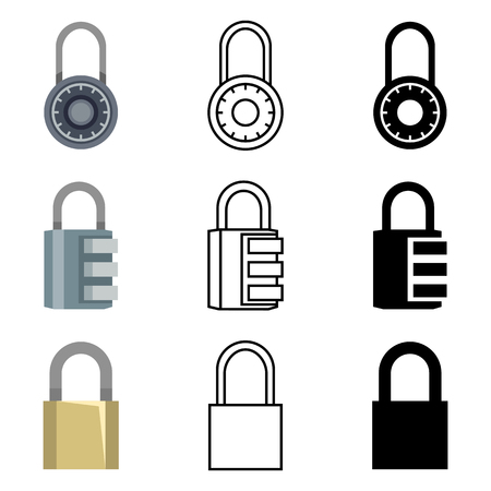 Vector Set of Different Style Padlock Icons. Color Flat, Outline and Silhouette Lock Signs.
