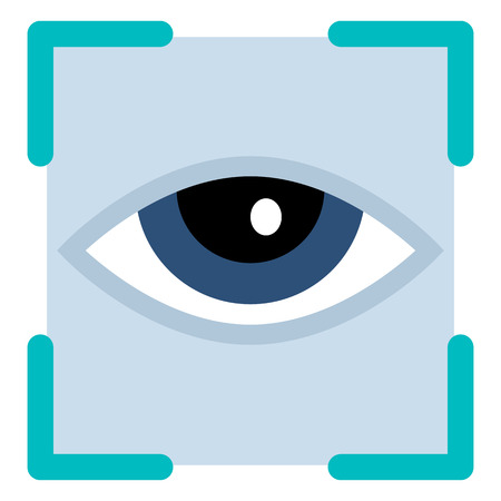 Vector Color Flat Icon - Human Eye in Frame Illustration