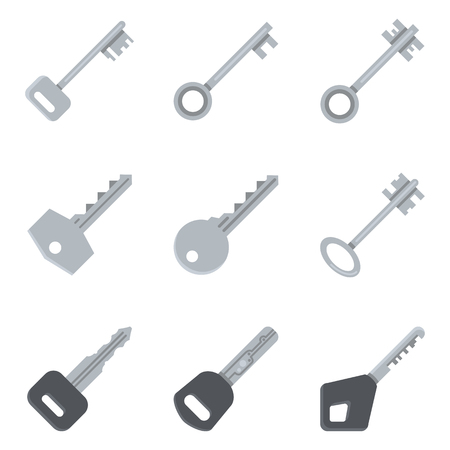 Vector Set of Flat Silver Key Icons. Modern and Antique Type of Keys. 일러스트