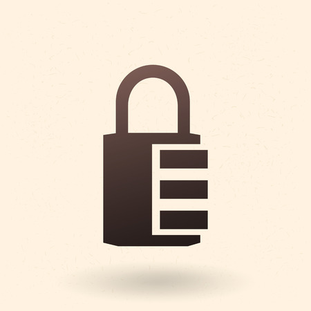 Vector Black Silhouette Icon - Combination Padlock
