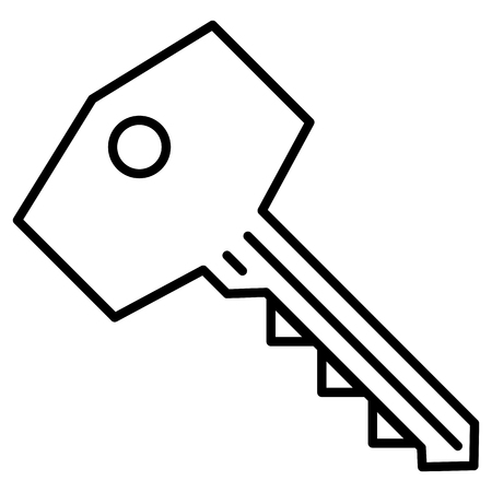 Vector Black Outline Icon - Modern Key 일러스트