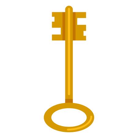 Vector Single Flat Golden Antique Key