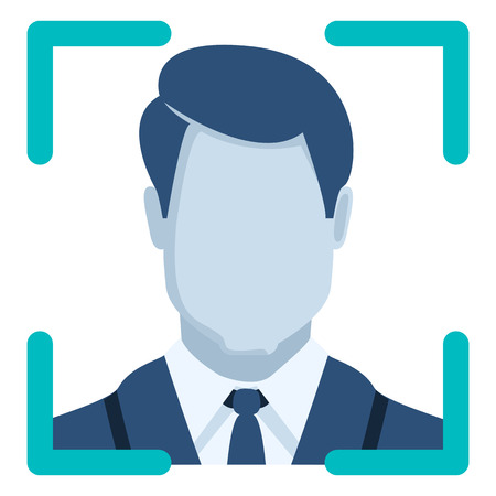 Vector Color Flat Icon - Face Recognition Illustration