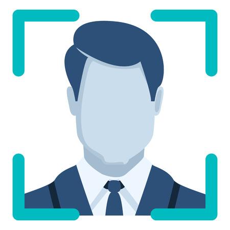 Vector Color Flat Icon - Face Recognition Ilustração