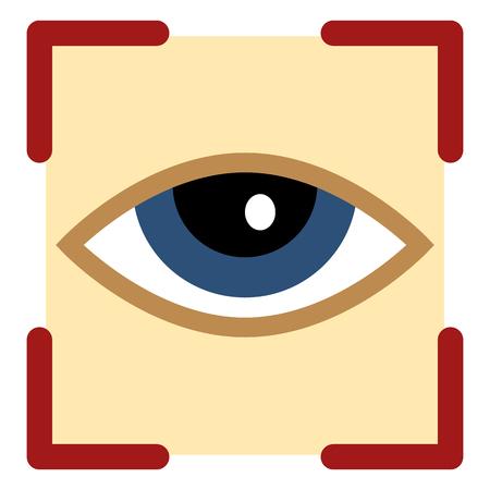 Vector Color Flat Icon - Retina Scaner Illustration