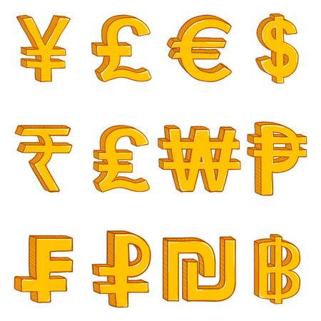 Vector Set of Cartoon Golden Currency Symbols