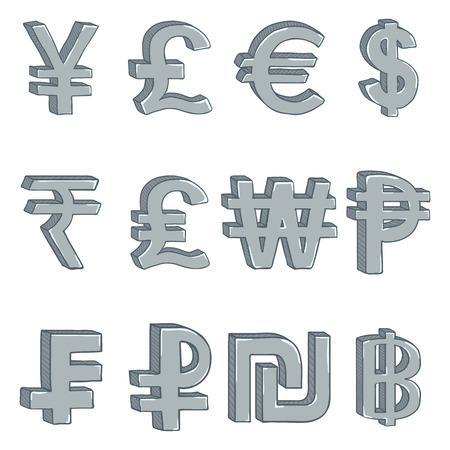 Vector Set of Cartoon Silver Currency Symbols